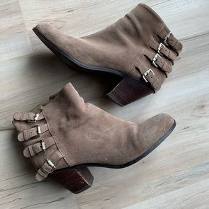 Sam Edelman Suede Heeled Booties Taupe 10